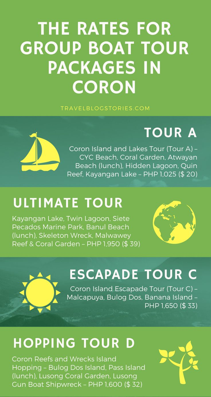 The rates for group boat tour packages in Coron, #Palawan #philippines #travelblogstories