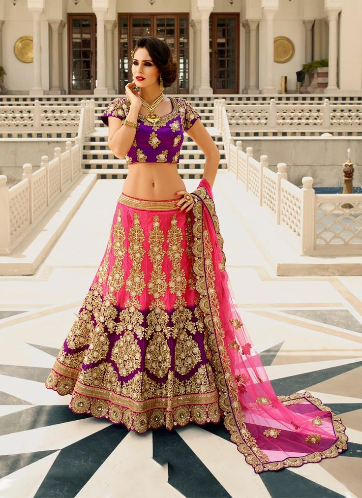 Online shopping for indian lehenga choli in different designs, styles, colors and fabrics. Order now! This voguish embroidered and patch border work a line lehenga choli.