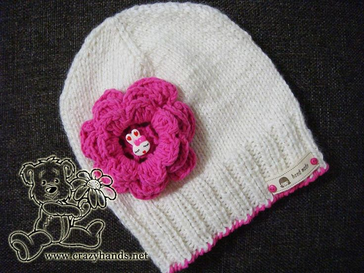 children's knitted hat pattern with crochet flower