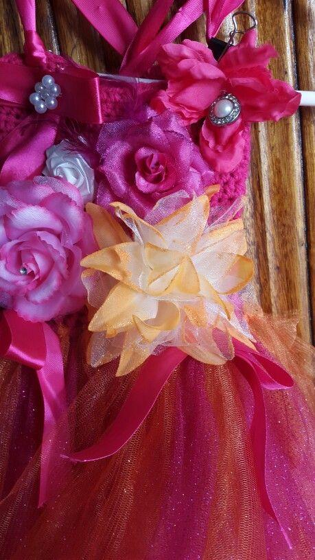 Flowers and satin finish crochet tutu dress woolandtutu@gmail.com