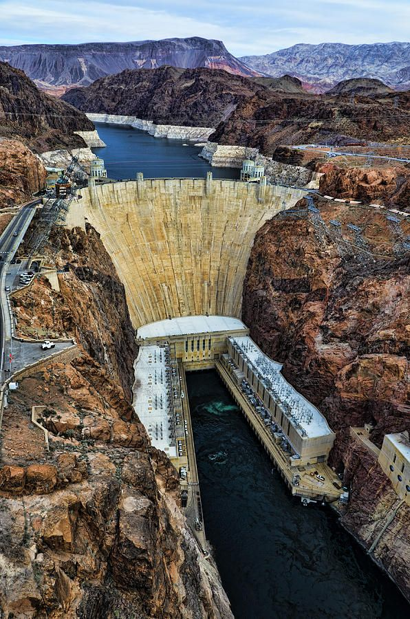 Hoover Dam, connecting Nevada (on the left) and Arizona by Jon Berghoff