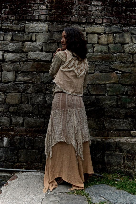 Layered Long Bohemian Skirt Made from Block print cotton