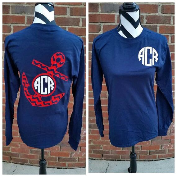 Monogrammed Chevron Anchor Long Sleeve Shirt. by ElleQDesigns