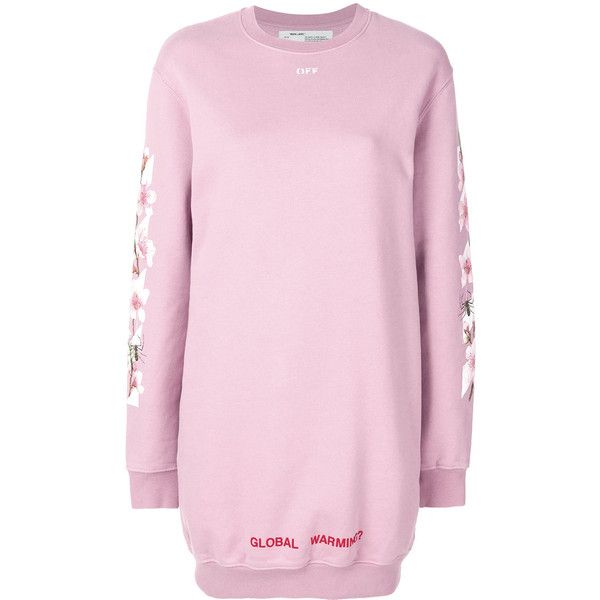Off-White Cherry Flower Sweatshirt Dress (£445) ❤ liked on Polyvore featuring dresses, pink, long dresses, pink dress, champagne pink dress, cotton dress and cherry blossom dress