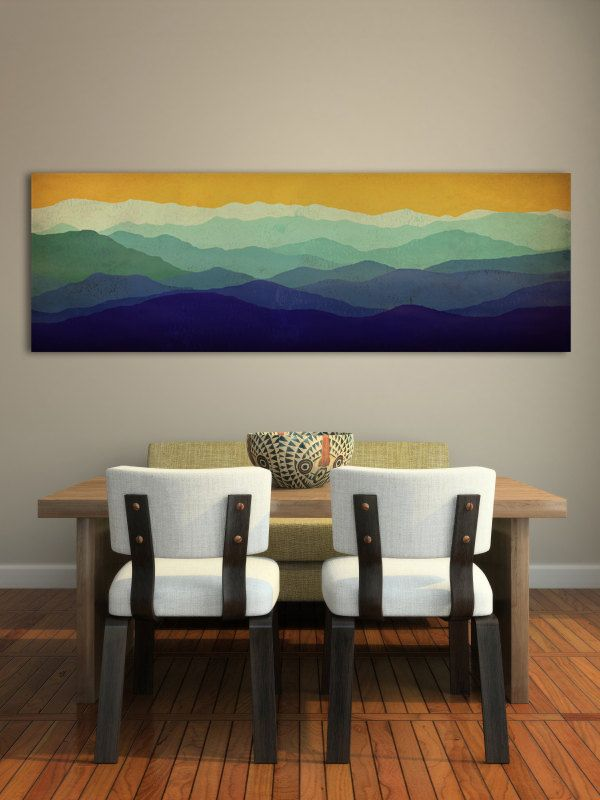 Mountain Memories Illustration - Smoky / Green - Mountains  Stretched Canvas Panel 14x42x1.5 inches Ready to Hang Wall Art (189.00 USD) by nativevermont