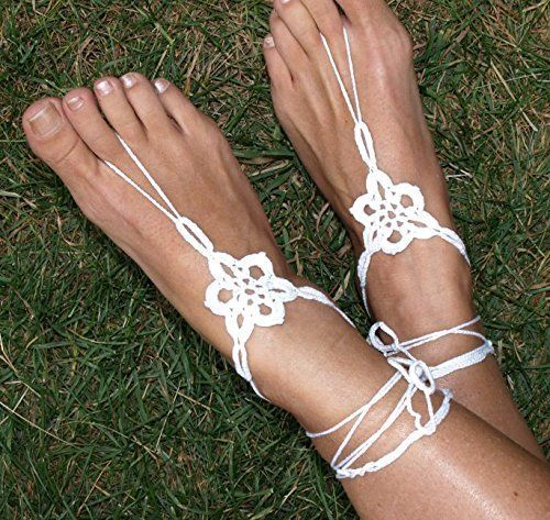 White Star Flower Crochet Barefoot Sandals, Handmade, Bare Foot Flower Jewelry, Yoga Shoes, Beach, Floral Garden Wedding, Boho Anklet, http://www.amazon.com/dp/B01645IB6E/ref=cm_sw_r_pi_awdm_NKhyxb7PRFZAJ
