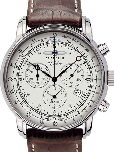 Graf Zeppelin 7680-1, Swiss Ronda quartz-controlled chronograph movement with an alarm function, date window, Brequet style hands, tachymeter scale, secondS and 30 minute timer sub-dials