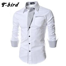 US $7.68 T-bird 2017 Dress Shirts Mens Brand Striped Shirt Cotton Slim Fit Chemise Long Sleeve Shirt Men Casual White Shirt Plus Size 3XL. Aliexpress product