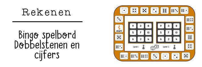 JufShanna: Rekenen - bingo spelbord dobbelstenen en cijfers