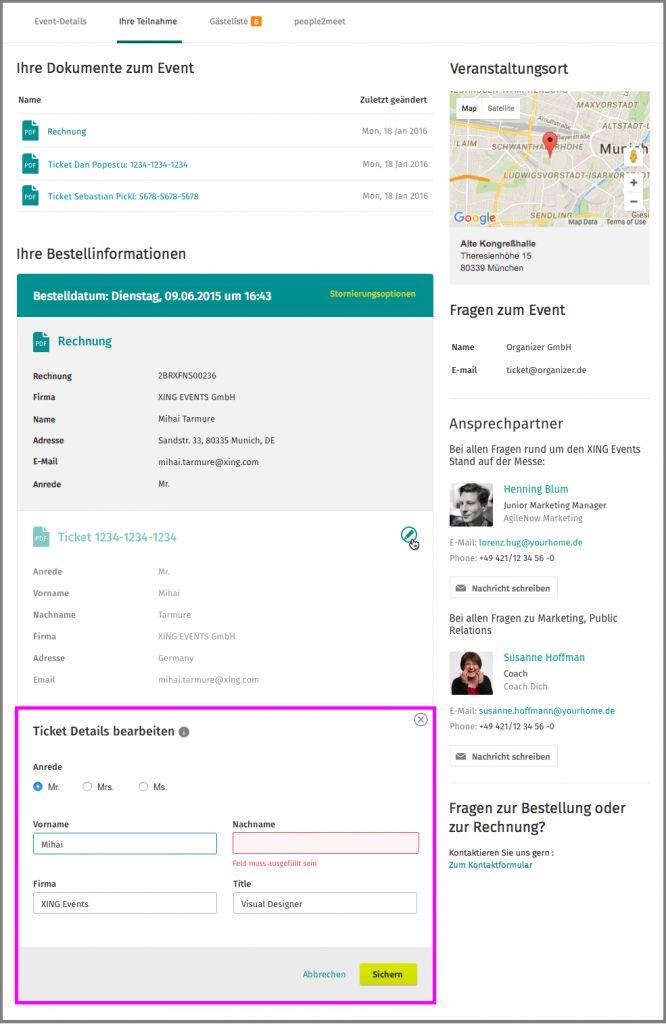 Teilnehmer können ihre Ticketdaten auf XING selber ändern.