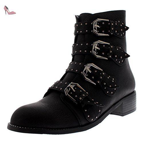 Femmes Combat Sangle Talon De Bloc Militaire Punk Armée Rétro Bottines - Noir - UK8/EU41 - LY0080 - Chaussures viva (*Partner-Link)
