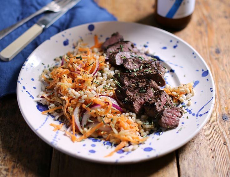 Grilled Venison Steaks with Pear & Mustard Slaw
