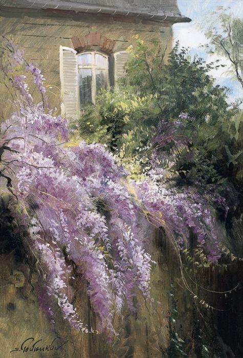 Дом в Бургундии -  пейзаж с глицинией  на изгороди