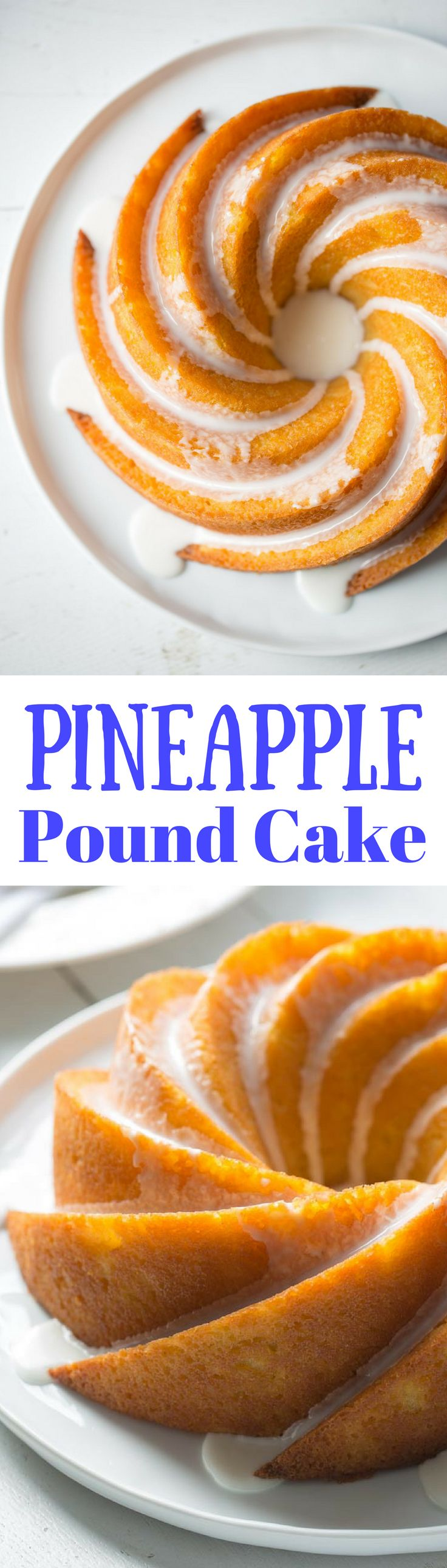 Pineapple Pound Cake ~ with plenty of crushed pineapple baked inside, this cake is a tropical treat! Drizzled with a simple pineapple icing.