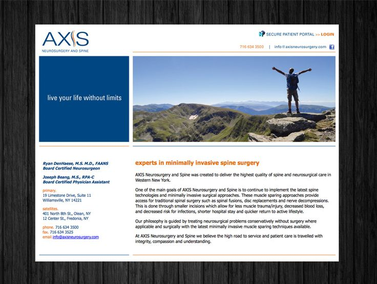 Website design, Axis Neurosurgery