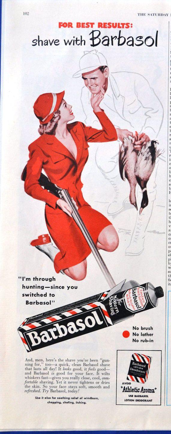 1949 Barbasol Shaving Cream Vintage Print Ad - Duck Hunting - Woman with Shotgun