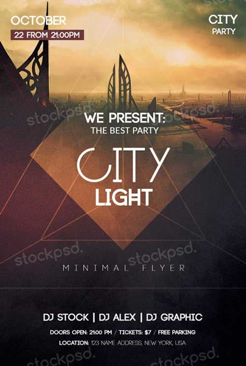 City light free psd flyer template http freepsdflyer for Free church flyer templates photoshop