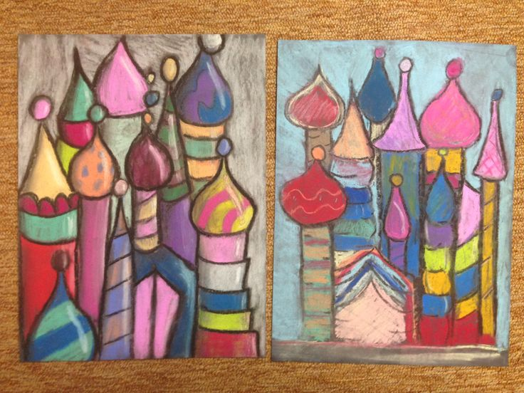 Baldwinsville Christian Academy - K-6 and middle school art lesson: St. Basil's Cathedral in Moscow with onion domes in pastel on black