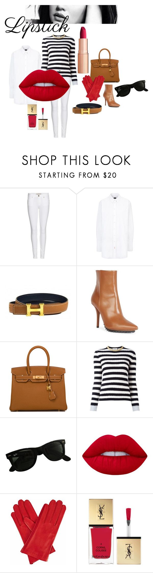 """""""woman in red...lipstick"""" by slavulienka on Polyvore featuring beauty, Burberry, Hermès, Givenchy, Gucci, Ray-Ban, Lime Crime, Gizelle Renee and Yves Saint Laurent"""