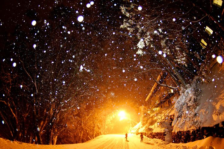 Night time snowfalls at Falls Creek ski resort in Victoria, Australia #snowaus