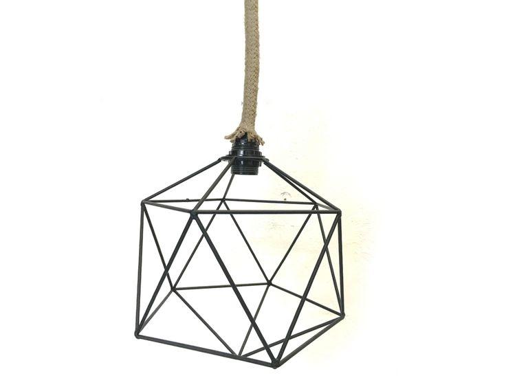 Φωτιστικό σχοινί με μεταλλικό πλέγμα | Wood Collection | Geometric style Lighting for interior   Vintage industrial Lighting