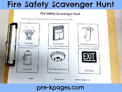 """Love the idea of a Fire Safety Scavenger Hunt! We can have one in the classroom and we can take the children for a walk around our school playing """"I Spy"""" and showing them where everything is."""
