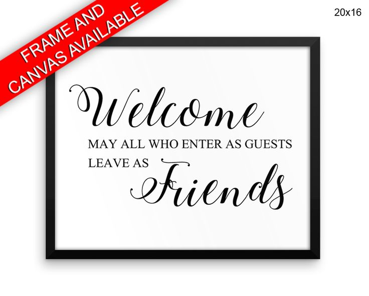 Welcome Wall Art Framed Welcome Canvas Print Welcome Framed Wall Art Welcome Poster Welcome Home Art Welcome Home Print Welcome friends #canvas #frame