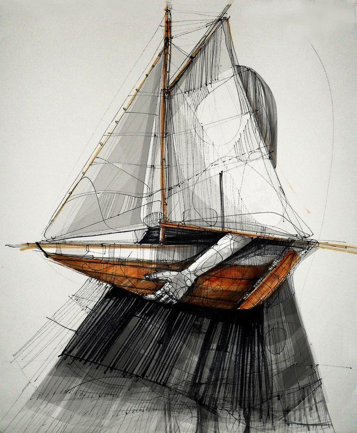 illustration, sail, yacht, pleasure boat, dream