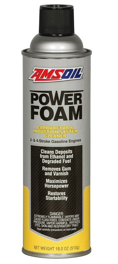 AMSOIL Power Foam® (APF) improves engine performance by removing gum, varnish and carbon deposits that affect power, operation, idle and fuel economy. Power Foam cleans intake valves, intake manifolds and throttle plates to keep the combustion intake system running at peak efficiency. Effective in both two- and four-stroke gasoline engines, Power Foam helps reduce engine ping and keeps carburetors and injector systems operating like new.