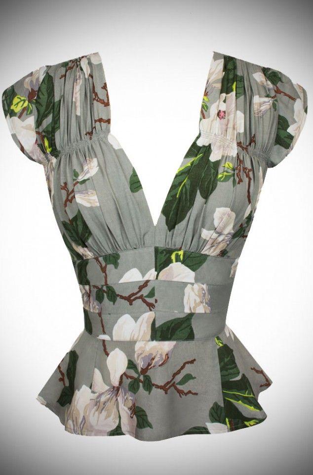Trashy Diva Vintage style 40's Blouse in Steel Magnolia Print