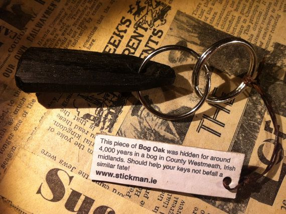 4000 year old Irish Bog Oak key chain by by MayFlyEtsyShop on Etsy, €9.99
