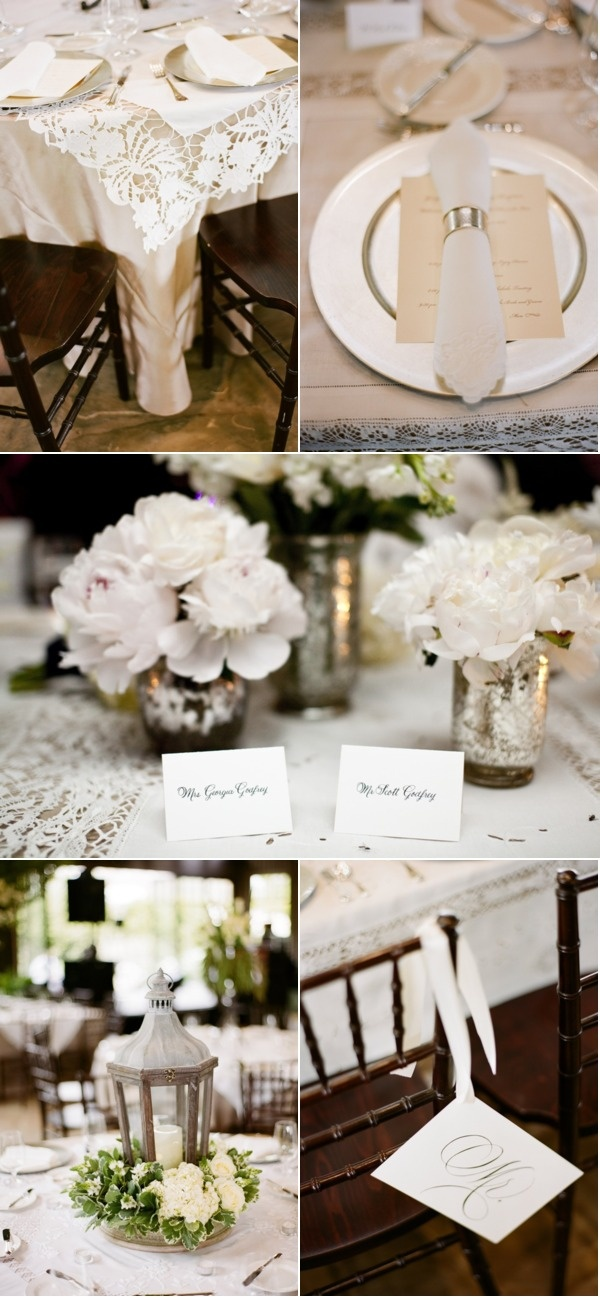 Lots of pretty tablescapes and linens in this wedding - maybe some good ideas for the cake table