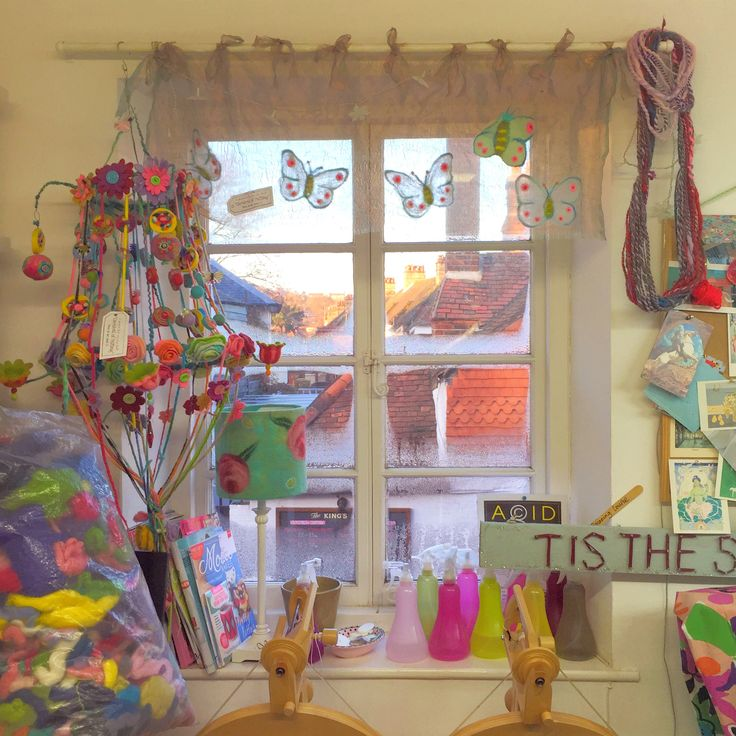 The Gilliangladrag Fluff-a-torium #studio #window with #felt #chandalier - this is the room where we teach #felting #sewing #knitting #crochet #spinning and #embroidery