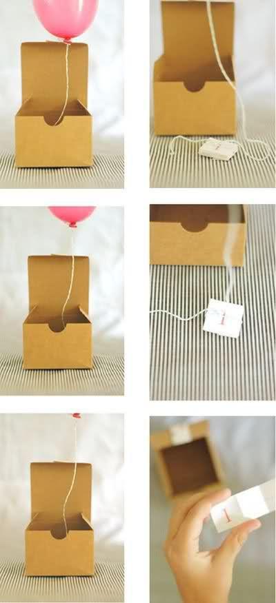 Balloon in a box...fun invitation idea