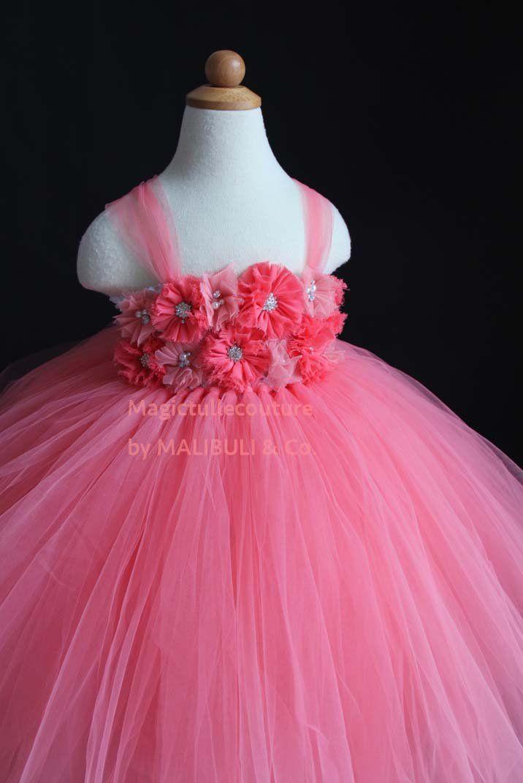 79e78961f32 Coral Flower Girl Tutu Dress Tulle Dress Wedding Dress Toddler Dress  Magictullecouture