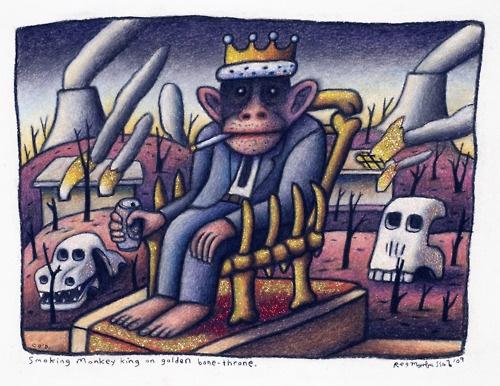 """Smoking monkey king on golden bone throne"" by reg mombassa"