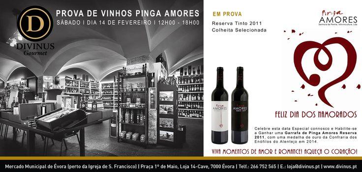 Dia 14 de fevereiro. Prova de vinhos Pinga Amores