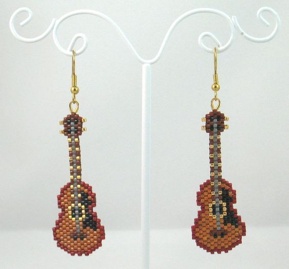 Beaded Classic Guitar Earrings: