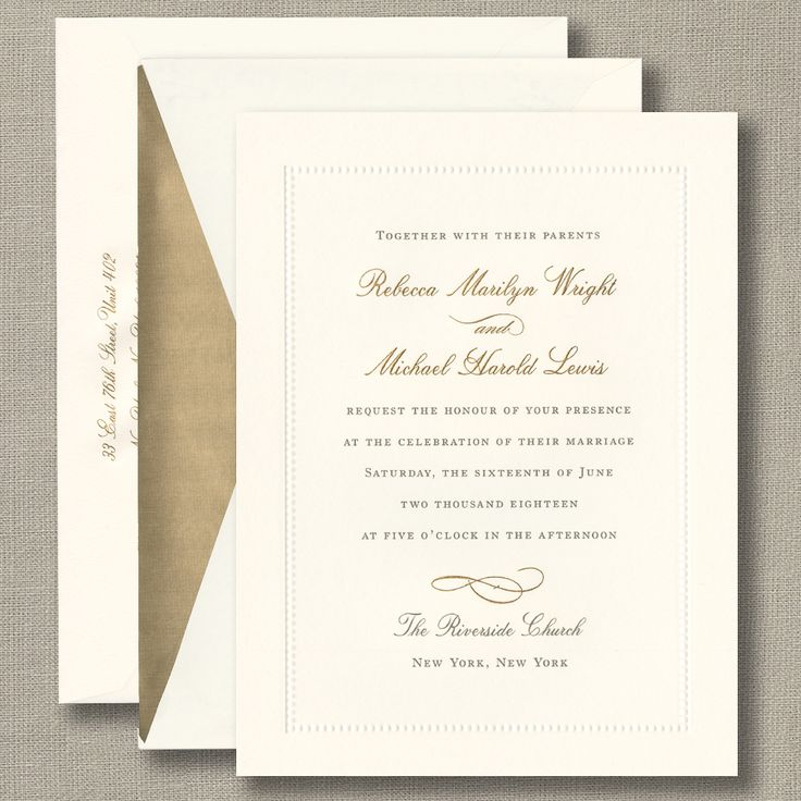 Engraved Ecru Beaded Border Invitation 99 best