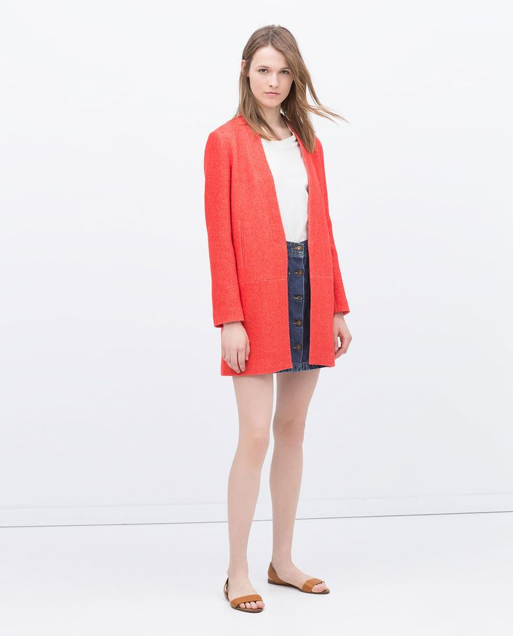 Image 1 of LINEN CORAL COAT from Zara