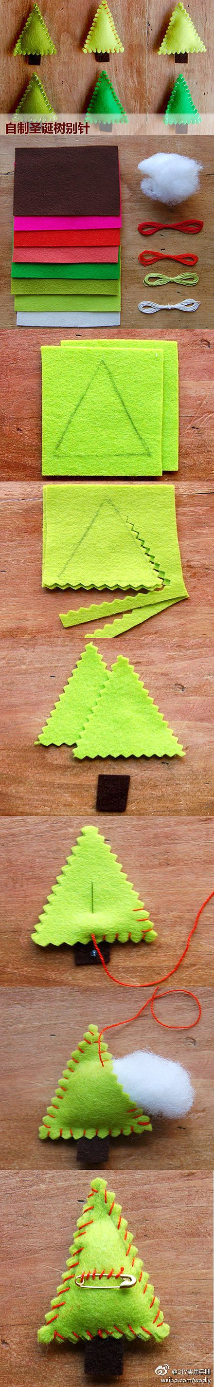 How to make cute Christmas tree clothpin step by step DIY tutorial instructions / How To Instructions