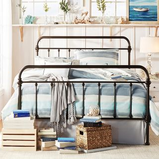 Priage Black Steel Platform Full Size Bed Frame with Headboard | Overstock.com Shopping - The Best Deals on Kids' Beds