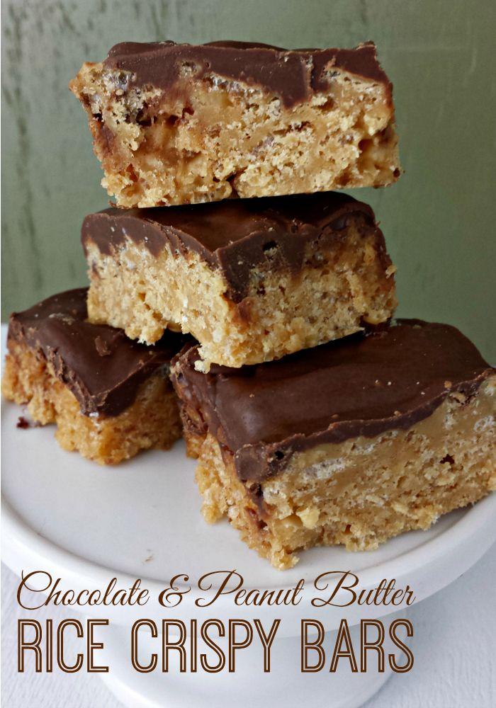 Chocolate Peanut Butter Rice Crispy Bars