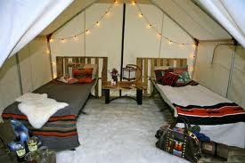Nice pallets to define as more permanent wall tent for Permanent tent cabins