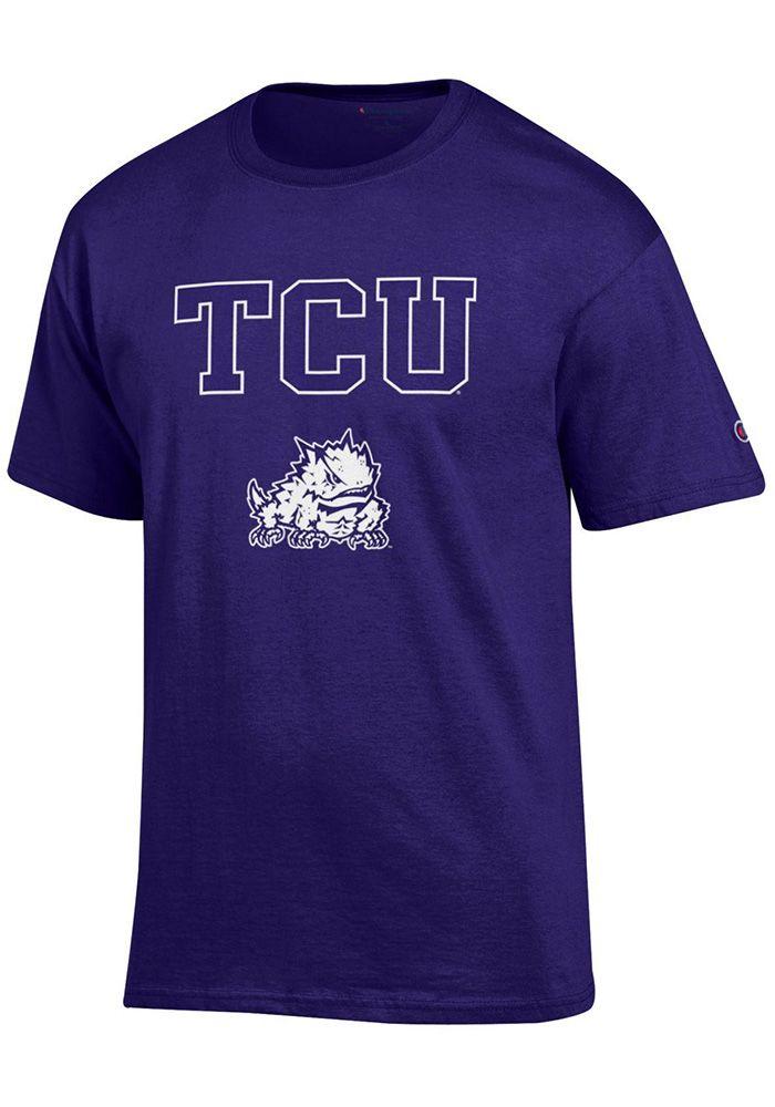 caac0be87b49ac Champion TCU Horned Frogs Mens Purple Arch Mascot Short Sleeve T Shirt -  Image 1
