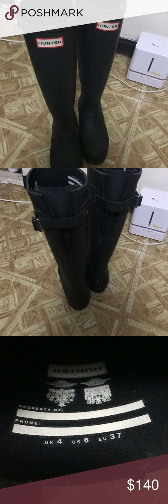 Hunter adjustable wide calf rain boots Only worn a few times! Great for rain and snow with thick socks. Color is matte black Hunter Boots Shoes Winter & Rain Boots