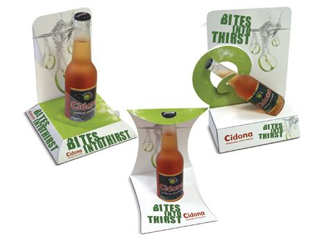 Clever product point of sales display. 3 variations on Counter Display Units (CDU's) for Cidona.    ***  Design, print and build by The Printed Image in Ireland. ***
