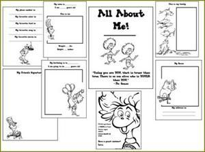 Dr Seuss All About Me Book Preschool Printable
