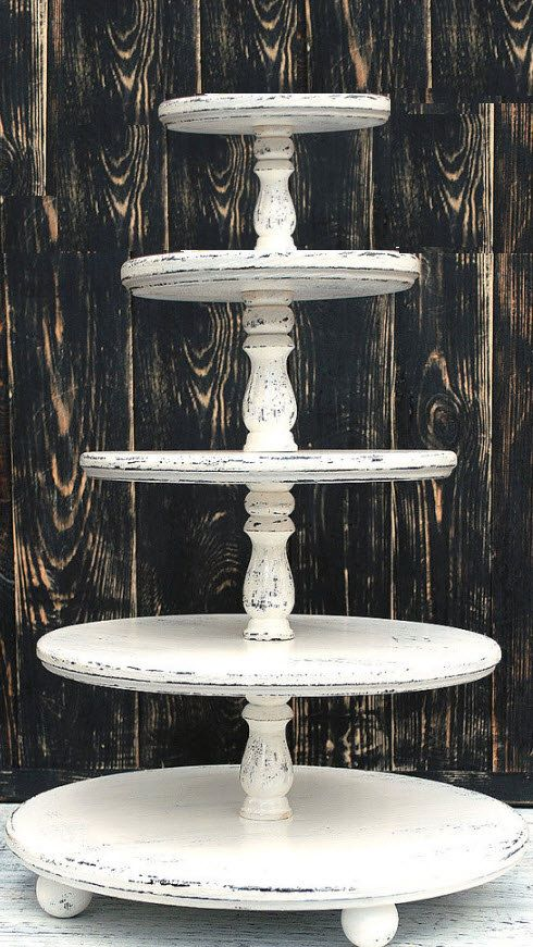 "Large 5-Tier tower hold  (18/16/14/12/10"") Shabby White Cupcake Stand Wooden Shabby Ivore Wedding Cupcake stand Custom Cupcake Wood Distress"