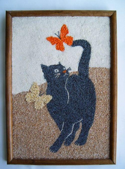 Cuadro de gato con semillas